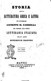Storia della letteratura greca e latina del professore Giuseppe M. Cardella