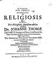 Diss. de religiosis