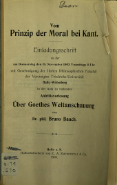 Vom prinzip der moral bei Kant ...