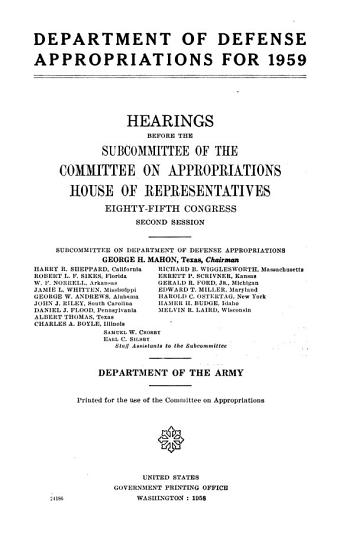 Department of Defense Appropriations for 1959 PDF
