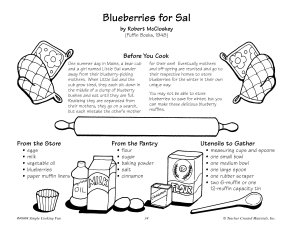 Blueberries for Sal  Blueberry Muffins Recipe Book