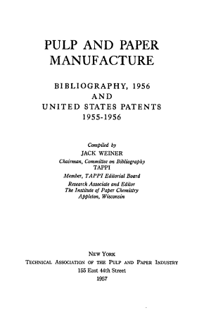 Pulp and Paper Manufacture PDF