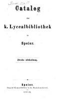 Catalog der K  Lycealbibliothek in Speier PDF