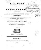 Upper Canada Statutes