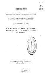 Discurso pronunciado en la Universidad Central el día de su instalación (7 de noviembre de 1822)