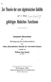 Zur Theorie der zum algebraischen Gebilde ym