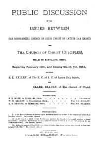 Public Discussion of the Issues Between the Reorganized Church of Jesus Christ of Latter Day Saints and the Church of Christ  Disciples  Book