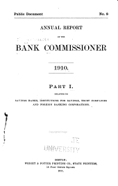 Annual Report of the Bank Commissioner for the Year Ending ...: Relating to savings banks, institutions for savings, trust companies and foreign banking corporations. Part I, Part 1