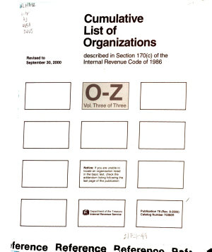 Cumulative List of Organizations Described in Section 170  c  of the Internal Revenue Code of 1954 PDF