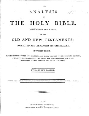 An Analysis of the Holy Bible     Collected and Arranged Systematically in Thirty Books     By Matthew Talbot PDF