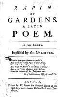 Rapin of Gardens     A Latin poem     English d by Mr  Gardiner PDF
