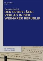 Der Propyl  en Verlag in der Weimarer Republik PDF