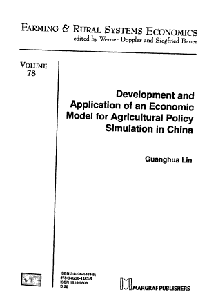 Development and Application of an Economic Model for Agricultural Policy Simulation in China PDF