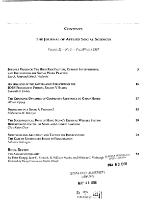 The Journal of Applied Social Sciences PDF
