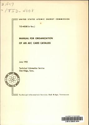 Manual for Organization of an AEC Card Catalog PDF