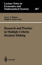 Research and Practice in Multiple Criteria Decision Making
