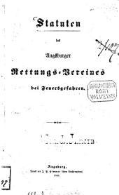 Statuten des Augsburger Rettungs-Vereines bei Feuersgefahren