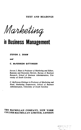 Marketing in Business Management PDF
