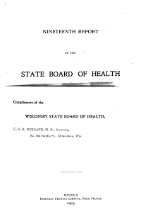 Report of the State Board of Health of Wisconsin     1902 PDF