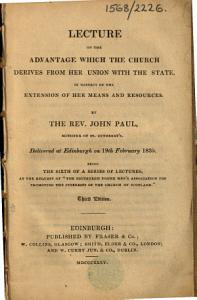 Lecture on the advantage which the Church derives from her union with the State     Delivered at Edinburgh on 19th February 1835     Third edition PDF