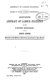 Abstract of Labor Statistics: Volume 11, Parts 1906-1908