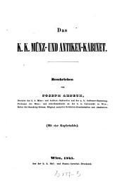 Das k.k. Münz- und Antiken-Kabinet. [Mit 4 Kupfertafeln. ]