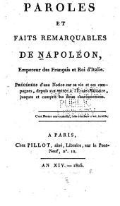 Paroles et faits remarquables de Napoleon: empereur des française et roi d'Italie