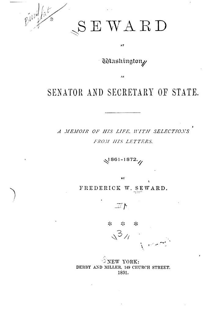 Autobiography of William H. Seward, from 1801 to 1834