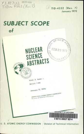 Subject Scope and Literature Coverage of Nuclear Science Abstracts PDF