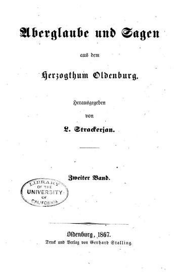 Aberglaube und Sagen aus dem Herzogthum Oldenburg PDF