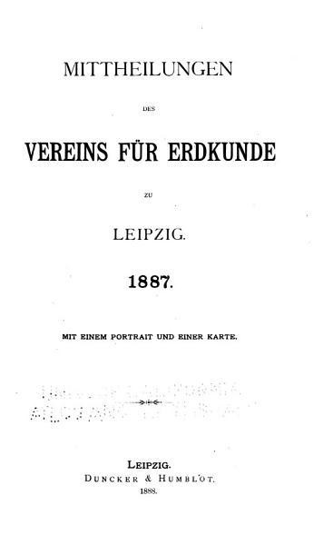 Mitteilungen Der Gesellschaft Fur Erdkunde Zu Leipzig