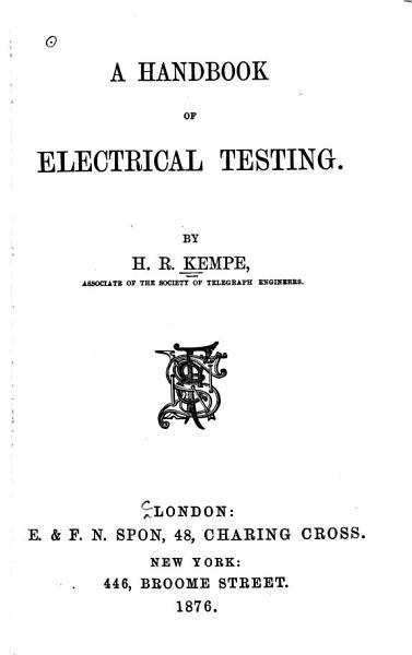 A Handbook Of Electrical Testing