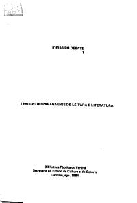 I Encontro Paranaense de Leitura e Literatura PDF