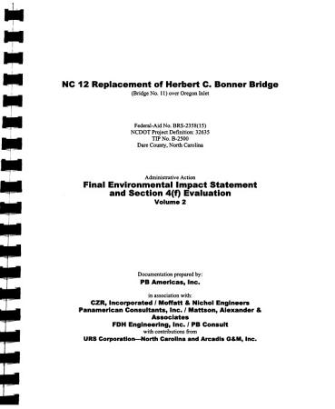 NC 12  Replacement of the Herbert C  Bonner Bridge  Bridge No 11 Over Oregon Inlet  Dare County PDF