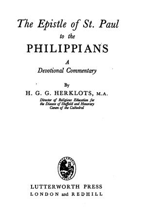 The Epistle of St  Paul to the Philippians PDF