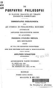 De Porphyrii philosophi in Platonis dialogum, qui Timaeus inscribitur, commentario: dissertatio...