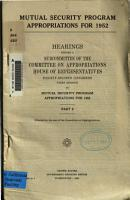 Mutual Security Program Appropriations for 1952 PDF