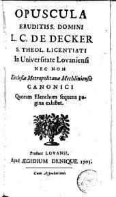 Opuscula theologica diversa