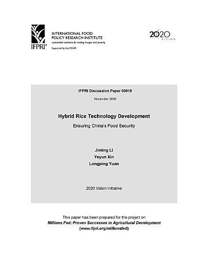 Hybrid rice technology development  Ensuring China s food security PDF