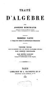 Traité d'algèbre: Volume1