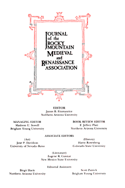 Journal of the Rocky Mountain Medieval and Renaissance Association PDF