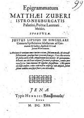 Epigrammatum Matthaei Zuberi Istro-Neuburgatis Palatini, Poëtae Laureati Melisséi, Sportulae