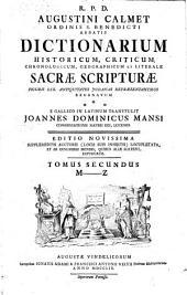 Dictionarium Historicum, Criticum, Chronologicum, Geographicum Et Literale Sacrae Scripturae: Figuris XXX. Antiquitates Judaicas Repraesentantibus Exornatum. M - Z, Volume 2