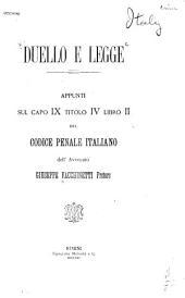 Duello e legge: appunti sul capo ix titolo iv libro ii del codice penale italiano