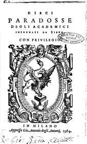 Dieci paradosse degli Academici Intronati da Siena