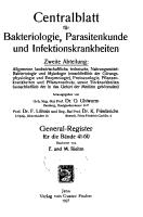 Centralblatt f  r Bakteriologie  Parasitenkunde und Infektionskrankheiten PDF
