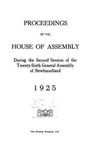 Proceedings of the House of Assembly and Legislative Council