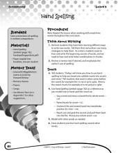 Writing Lesson Level K--Hand Spelling