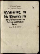 Vermahnung an die Pfarrherrren in der Superattendenz der Kirchen zu Wittenberg