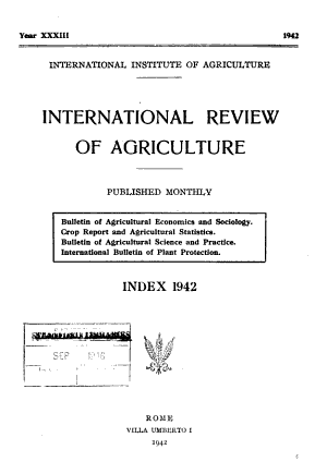 International Review of Agriculture PDF
